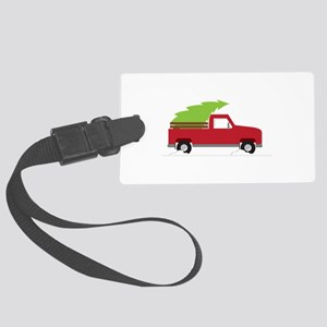 Red Christmas Truck Luggage Tag