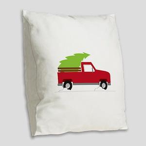 Red Christmas Truck Burlap Throw Pillow