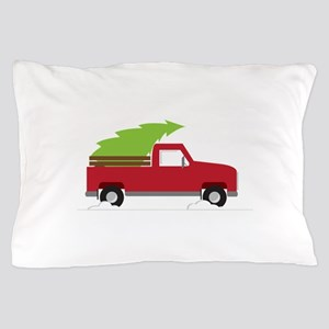 Red Christmas Truck Pillow Case