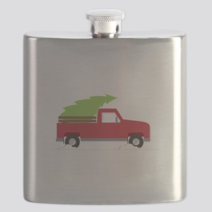 Red Christmas Truck Flask