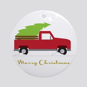 25. Red Pick up Truck Christmas Tree Ornament (Rou