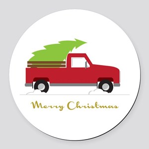 25. Red Pick up Truck Christmas Tree Round Car Mag