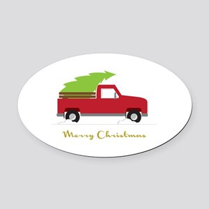 25. Red Pick up Truck Christmas Tree Oval Car Magn