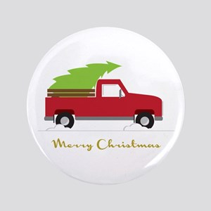"""25. Red Pick up Truck Christmas Tree 3.5"""" Button"""