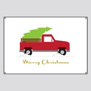 25. Red Pick up Truck Christmas Tree Banner