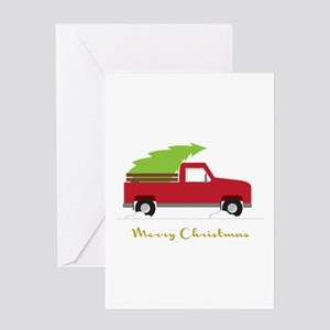 25. Red Pick up Truck Christmas Tree Greeting Card