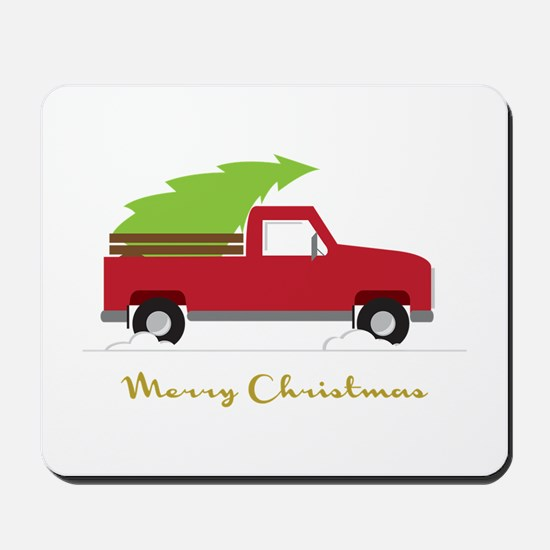 25. Red Pick up Truck Christmas Tree Mousepad