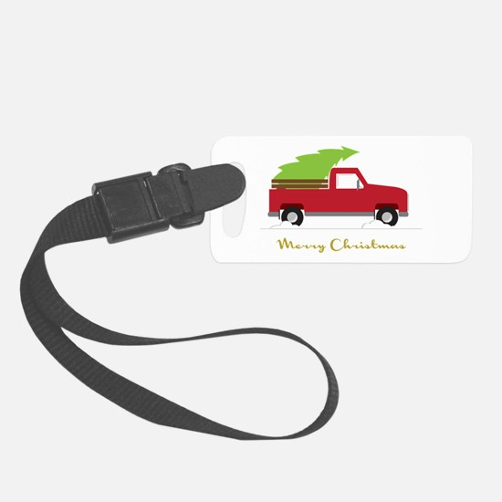 25. Red Pick up Truck Christmas Tree Luggage Tag