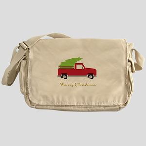 25. Red Pick up Truck Christmas Tree Messenger Bag