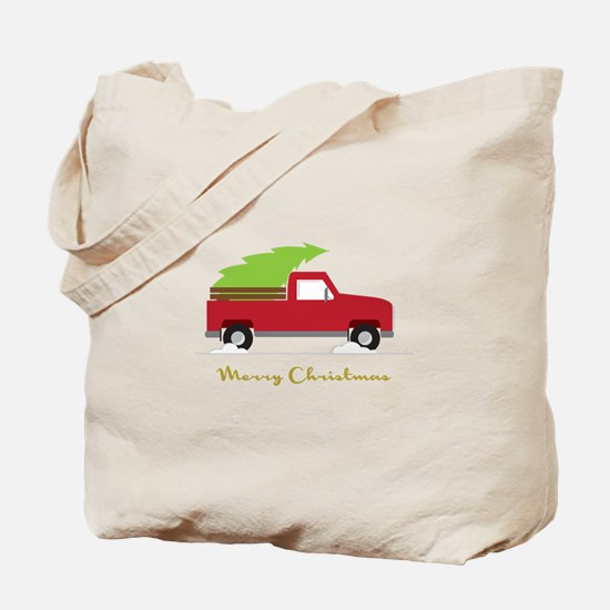 25. Red Pick up Truck Christmas Tree Tote Bag