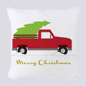 25. Red Pick up Truck Christmas Tree Woven Throw P