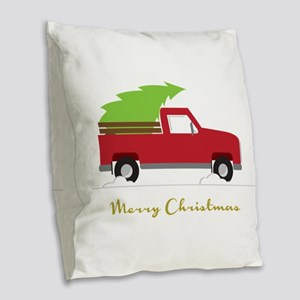 25. Red Pick up Truck Christmas Tree Burlap Throw