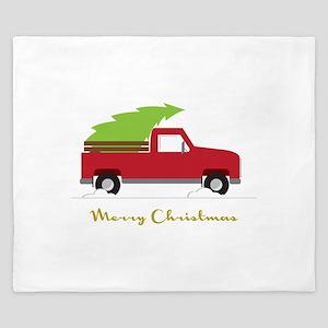 25. Red Pick up Truck Christmas Tree King Duvet