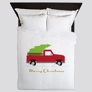 25. Red Pick up Truck Christmas Tree Queen Duvet
