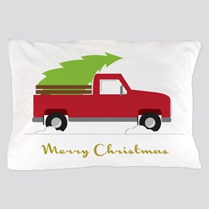 25. Red Pick up Truck Christmas Tree Pillow Case