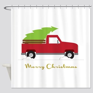 25. Red Pick up Truck Christmas Tree Shower Curtai