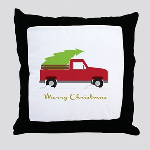 25. Red Pick up Truck Christmas Tree Throw Pillow
