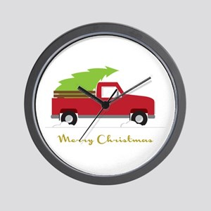 25. Red Pick up Truck Christmas Tree Wall Clock