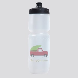 25. Red Pick up Truck Christmas Tree Sports Bottle