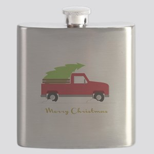 25. Red Pick up Truck Christmas Tree Flask