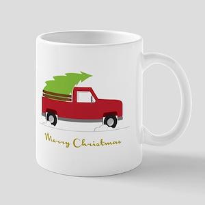 25. Red Pick up Truck Christmas Tree Mugs