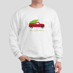 25. Red Pick up Truck Christmas Tree Sweatshirt