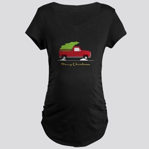 25. Red Pick up Truck Christmas Tree Maternity T-S