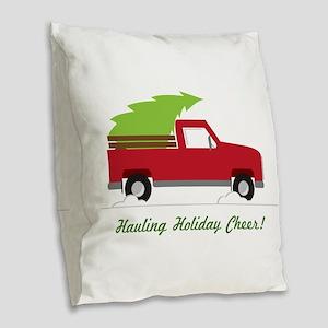 Hauling Holiday Cheer Burlap Throw Pillow