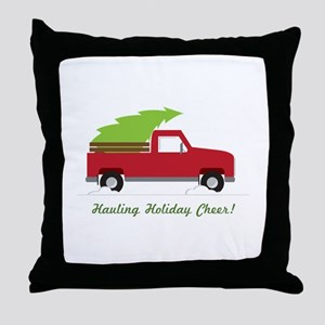 Hauling Holiday Cheer Throw Pillow