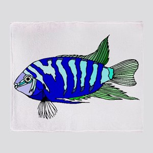 Blue Striped Cichlid Throw Blanket