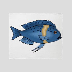 Blue Cichlid Throw Blanket