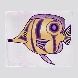 Purple Butterfly Fish Throw Blanket