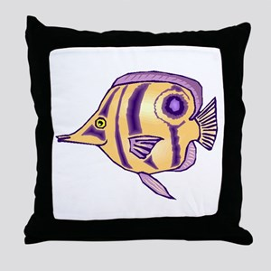 Purple Butterfly Fish Throw Pillow