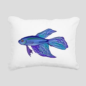 Blue Betta Fish Rectangular Canvas Pillow