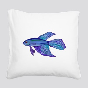 Blue Betta Fish Square Canvas Pillow