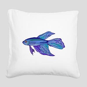 Blue Betta Fish Square Canvas Pillow