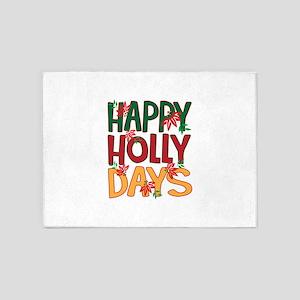 Happy Holly Days 5'x7'Area Rug