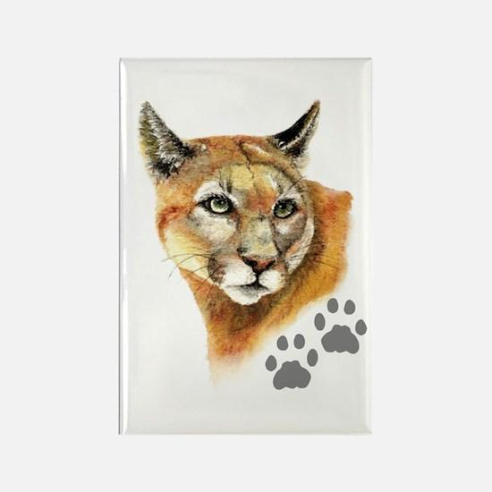 Watercolor Mountain Lion, Puma, Footprints Magnets
