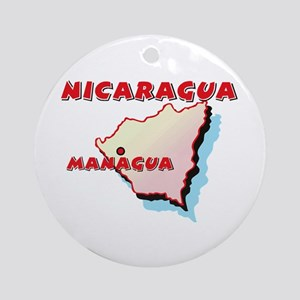 Nicaragua Map Ornament (Round)