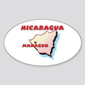 Nicaragua Map Oval Sticker