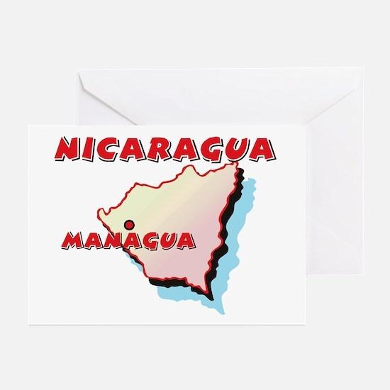 Nicaragua Map Greeting Cards (Pk of 10)