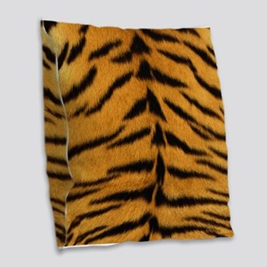 Tiger Fur Print Burlap Throw Pillow