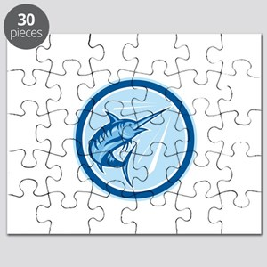 Blue Marlin Fish Jumping Circle Cartoon Puzzle