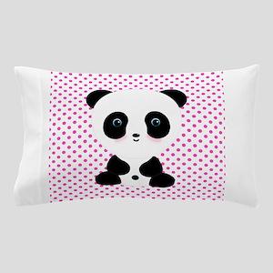 Panda Bear on Pink Polka Dots Pillow Case