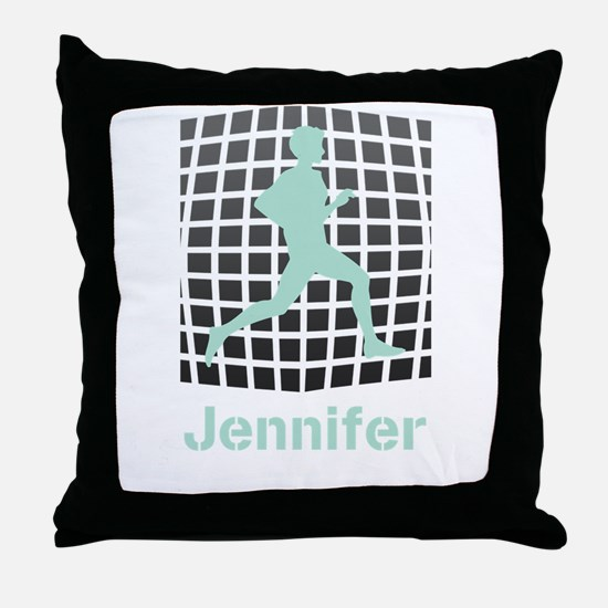 Mint Jogging Personalized Throw Pillow