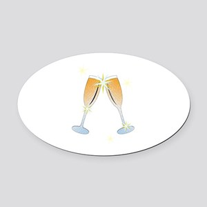 Champagne Toast Oval Car Magnet