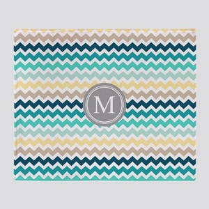 Teal Yellow Chevron Monogram Throw Blanket