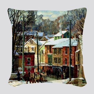 Winter in Gloucester Woven Throw Pillow