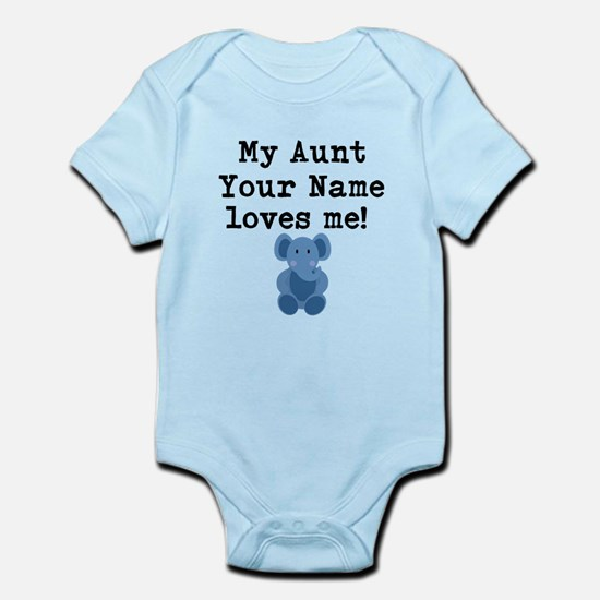 My Aunt Loves Me Blue Elephant Body Suit
