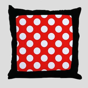 Retro Red Polkadots Throw Pillow
